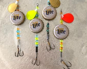 Miller beer bottle cap fishing lures