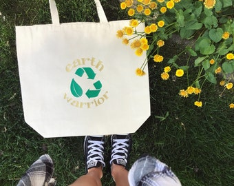 Tote Bag, Reusable Bag, Tote, Women's Bag, Recycle, Grocery Bag, Eco, Earth Day, Earth Warrior, Reusable Bag, Handbag
