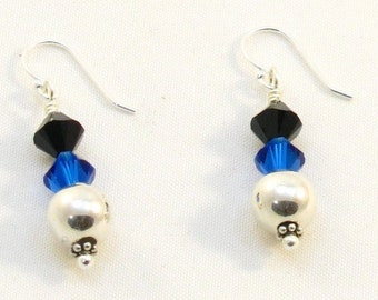 Sterling Silver Earrings with Blue and Black Swarovski Crystals