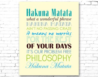 Lion king hakuna matata printable lyrics artwork lion king hakuna matata printable lyrics artwork blues greens on yellow background stopboris Images