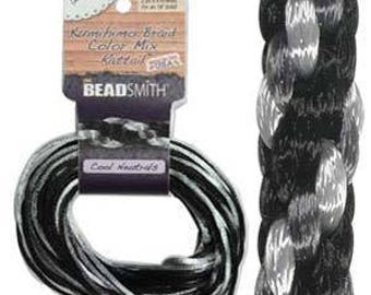 Kumihimo Rattail Color Mix Cool Neutrals, 4 Braids x 3 Yards each, 2mm Diameter
