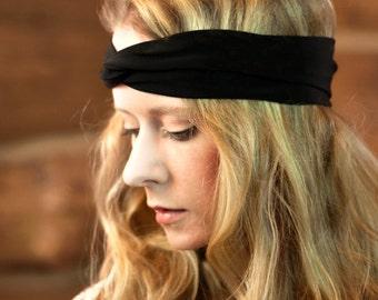 Black Twist Headband, Beauty Gift, Clothing Gift, Womens Turban, Black Headband, Adult Headband Black Head bands, Stretch Womens Headband,