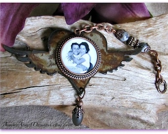 Angel Wings Sympathy Photo Ornament, Memory Lane Photo Gift, Custom Angel Wings Photo Gift, Family Photo Tributes, Loss of Parent Gift