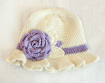 6 to 12m Crochet Sun Hat Baby Hat in Cream and Lilac - Crochet Rose Flower Hat Cloche Hat Baby Girl Baby Flapper Girl Photo Prop  Baby Gift