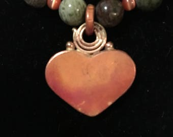 Copper Heart Medallion, Natural Stone Necklace Boho Jewelry