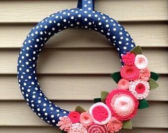 Spring Wreath - Easter Wreath - Summer Wreath - Baby Shower Wreath - Polka Dot Wreath -Felt Flower Wreath -Ribbon Wreath -Mothers Day Wreath