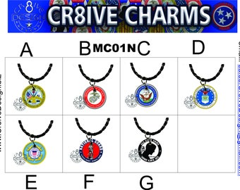 Military 1in Charm with Necklace. Armed Forces  Veterans,  MC01N