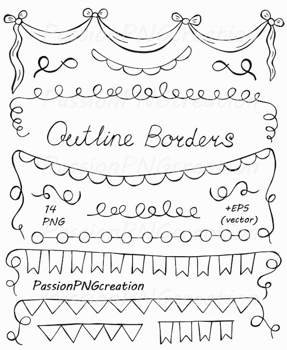 Hand Drawn Outline borders clipart Banners Outlines