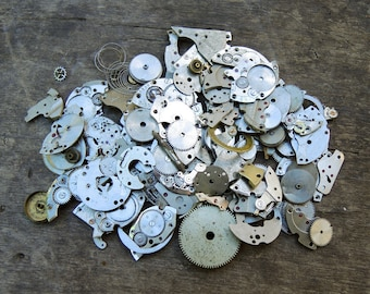 Small Watch Parts - Watch movements parts, gears, watch plates, watch pieces - Small clock parts - 72 gr - c21