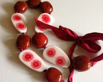 Necklace - Chunky marbled terracotta ceramic necklace with some decorative flat plastic beads Large beads
