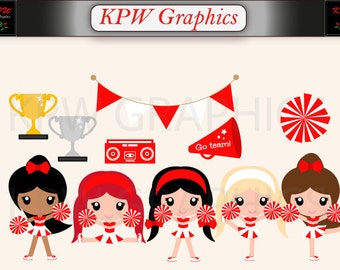 Red and White Cheerleader Clipart Set in a PNG (300ppi) format. Personal & Small Commercial use (024)