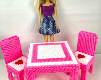 "Fashion Doll Kitchen Table and 2 chairs for 11 1/2"" dolls, doll furniture, pink white, dining table"