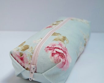 Small cotton zipper pouch, Pencil case/ makeup bag, fully lined with a blue floral water proof fabric
