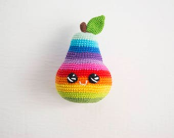 Rainbow Pear Crochetbaby toy , Colorful Kawai Plush eco-friendly play food toy, baby shower gift, amigurumi fruit kitchen decor