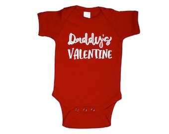 Daddy's Valentine, cute, baby, sweet, bodysuit, 1st Valentine's Day, love, Dad, him, her, red