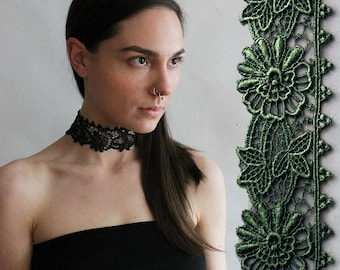 wide black lace choker | BEBE | wide choker, boho choker, victorian choker, black lace, statement necklace, gift for her, festival jewelry