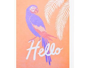 Tropical Bird Hello Letterpress Card