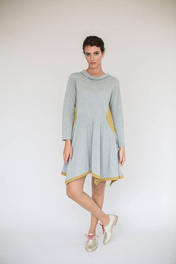 Dresses Dress Warm Dress Fit Grey Sleeve Size Long One Dress Winter Flare Dress And Dresses Light Casual Dress Asymmetrical nYrXqw0Eq