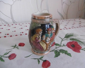 Beer mug English embossed ceramic