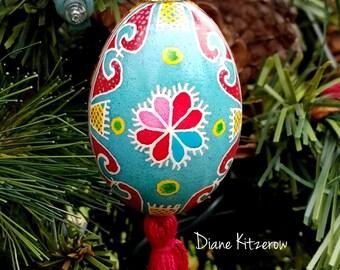 Ukrainian pysanka ornament, Easter egg ornament, decorative egg pysanky, Ukrainian egg, Easter gift, hearts pysanka egg, painted egg