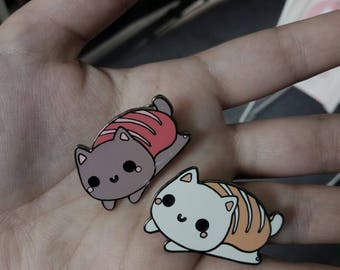 Sushi cat - Hard enamel pin - tuna nigiri