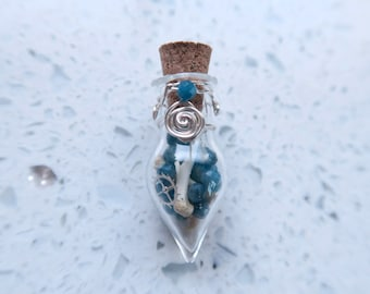Memento Mori Blue Apatite and Bones Throat Chakra Tiny Bottle Pendant