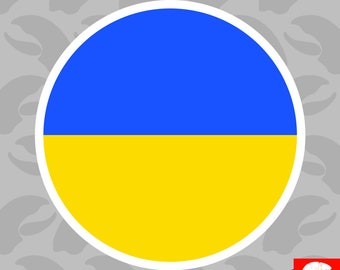 Round Ukrainian Flag Sticker Self Adhesive Vinyl Ukraine circle - C545