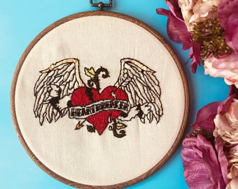 "Handstitched Embroidery ""Heartbreaker"" 8 inch with Frame"