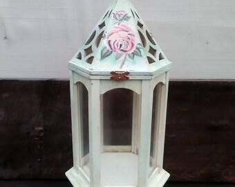 Large Wood Candle Lantern, Decorative Wooden Lantern, Inv.#836