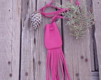 Pink leather necklace bag , Fringed leather medicine bag , Leather crystal bag , Pink amulet bag