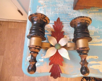 Vintage Rustic Shabby chic Tole and wood 2 Arm Candle Sconce ~ WALL Sconce ~ Fleur
