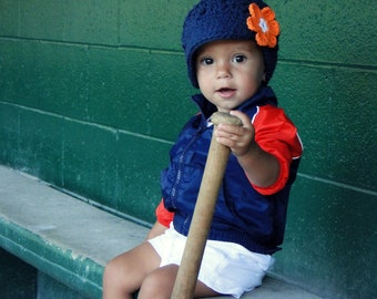 Crochet Baby Hat, kids hat, crochet newsboy hat, team colors, Detroit Tigers hat