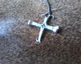 Horseshoe Nail Cross Pendant