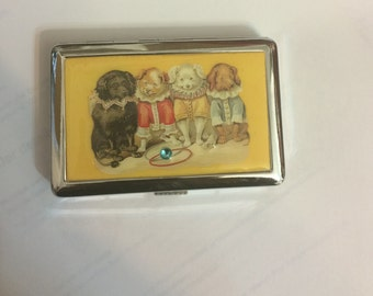 Edwardian Circus Dogs 2-Clip Cigarette Credit Card I.D. Case Business Card Holder