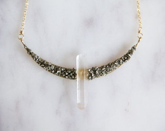 Crystal and Pyrite Crescent Necklace, Collar Necklace