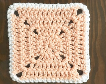 Crochet Mug Rug Large Square Coaster in Blush Pink and White