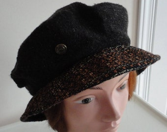 70s Brown wool/Tweed Women Hat small 21 1/2 inches Trendy