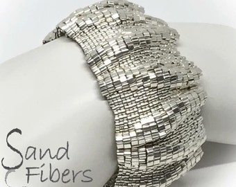 Large Silver Ripples Peyote Cuff / Peyote Bracelet (2457) - A Sand Fibers Creation
