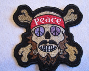 Embroidered Hippie Peace Sign Iron On Patch, Peace Sign, Hippie Patch, Iron On Patch, Hippie Applique, Hippies, Rtro Patch, 60's
