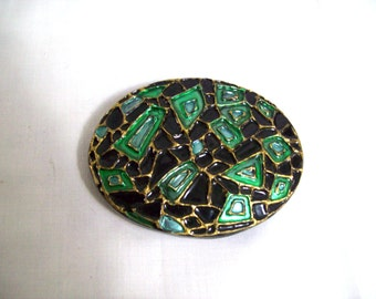 Black and Green Enamel Mosaic Belt Buckle Made in West Germany