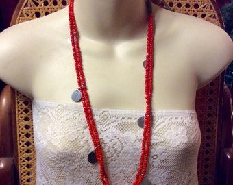 Vintage 1960's handmade coral glass beads hemp necklace.