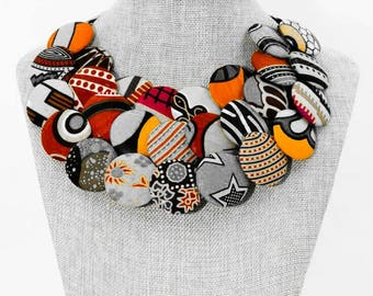 African print covered buttons bib necklace