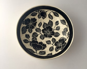 Handmade Floral Carved Pottery Bowl