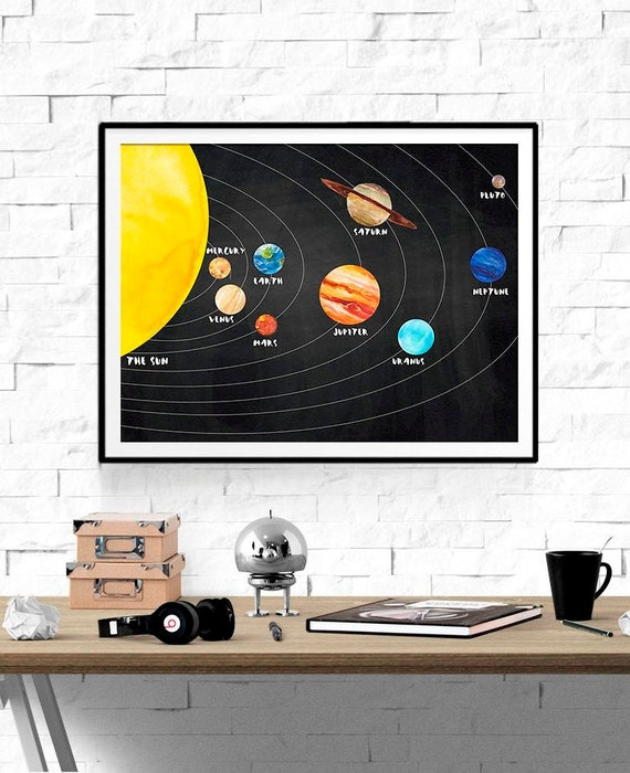 solar system print kids room decor space print planets. Black Bedroom Furniture Sets. Home Design Ideas