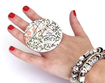 Big Ring Handmade Ceramic Ring - large ring, flower ring, ceramic jewelry, fashion ring, adjustable cocktail ring