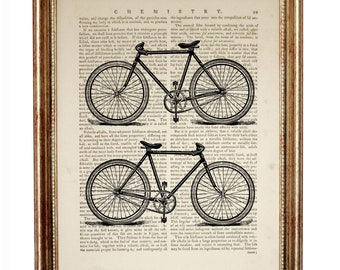 Classic bicycle Poster, Bicycle Wall Art, Bicycle Art, Bicycle Gifts, Retro Bicycle Dictionary Art Print, Gift for Cyclist Bike illustration