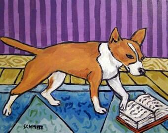 Portuguese Podengo Reading a Book Dog Art Print  MODERN abstract pop folk art