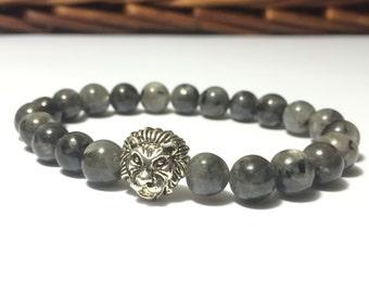 Grounding Bracelet, Larvikite Bracelet, Protection, Chakra Bracelet, Silver Lion head, Meditation bracelet, Men bracelet