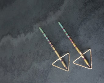 Geometric Arrow Spear Hammered Gold Fill and Hematite Stud/Post Drop Earrings
