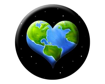 EARTH HEART Large PIN or Button - in honor of Earth Day - Quality Round 2.25 inch Pin-Back Button